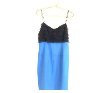 NWT Black Halo Colorblock Black Blue Silk Dress 8